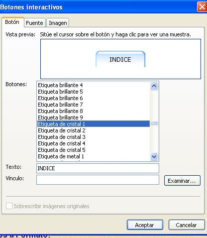 botones interactivos para frontpage